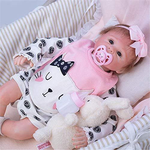 HXUEE Lebensechte 50cm Reborn Babypuppe Mädchen Weiche Vinyl Silikon Puppe Reborn Babys Dolls Katze Muster Outfit