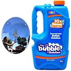 Includes 32 fl. oz. of Premium Soap Concentrated Bubble Solution – Makes 2.5 Gallons Regular Bubble Solution/ 1.5 Gallons Giant Bubble Solution. OUTDOOR use. PERFECT REFILL LIQUID: Valuable Refill for Bubble Wand, Bubble Machine, Bubble Blower, Bubbl...