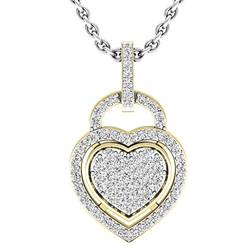 Dazzlingrock Collection 0.24 Carat (ctw) 10K Round Diamond Ladies Heart Pendant 1/4 CT (Silver Chain Included), Yellow Gold (0.25 Ct Pendant)