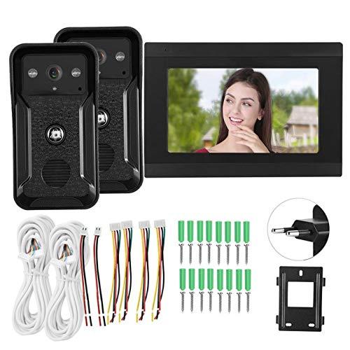 Timbre de Video con Cable WiFi de Aspecto Nocturno, Videoportero de 2 cámaras, Edificios públicos Oficinas Villas(European regulations)
