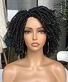 CCHairShortDreadlockTwistWigsforBlackWomenShortAfro CurlyTwist WigsBraided Faux Locs Croche HairSyntheticWigs(1B)