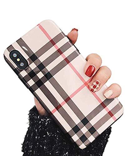 Case Cover iPhone Xr Handyhülle Schutzhülle TPU Silikon Stoßfest Fallschutz Bumper Tasche Schale für Apple iPhone Xr 6.1'' Mode Plaid iPhone Xr