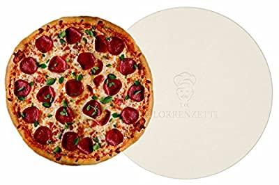 """Lorrenzetti 16"""" Premium Pizza Stone for Baking Pizza in an Oven or BBQ Grill Like a Pro. Heat Retaining and Perfect For Deep Dish or Thin Crust Pizza"""