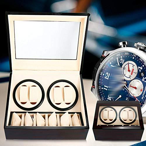 Berkalash Uhrenbeweger Box, Automatikuhren Watch Winder, 4 Wicklerpositionen, 6 Stauräume, Flexible Uhrenkissen, Transparentes Anzeigefenster