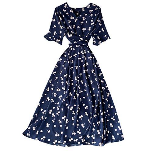 EUCoo - Vestido largo de verano con cuello en V, estampado floral, manga corta, con cinturón, estilo bohemio, para playa