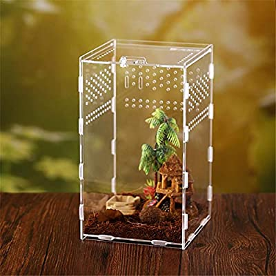 Clear Reptile Breeding Box, Insect Feed Box For Snake Spider Lizard Scorpion Centipede Small Acrylic Terrarium Full View With Sliding Design Feeding Box For Insect Reptile Bird Spiders Buckle by Luckyx