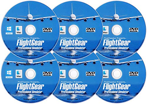 FlightGear Flight Simulator 2020 X Premium DELUXE Edition Flight Sim 6 Disc DVD CD Set Compatible with Microsoft Windows 10 8.1 8 7 Vista PC & Mac OS | 600+ Aircraft & FULL Worldwide Scenery!