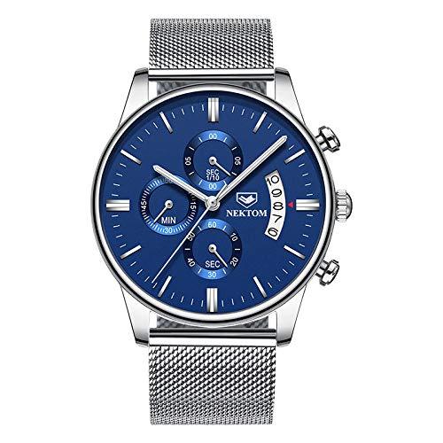 Reloj automático para Hombre Relojes de Cuarzo Informales de Cuero -D