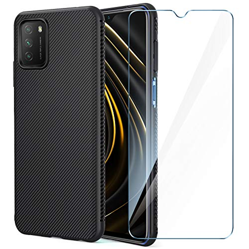 AROYI Funda Compatible con Xiaomi Poco M3 y Protector Pantalla Cristal Templado, Silicona Slim Suave TPU Bumper Case Anti-arañazos Antigolpes Cover - Negro