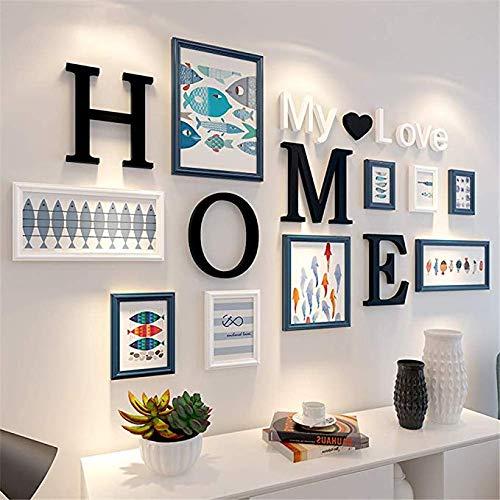 Creatieve massief hout foto muur zwart wit foto fotolijst Collage moderne eenvoudige grote multi-fotolijst muur Set