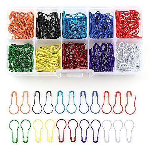 Nuluxi Calabash Pins met opbergdoos metalen lamp veiligheidspen voor kleding DIY metalen pinnen Breien Marker Metalen Calabash veiligheidspeldjes Geschikt voor doe-het-zelf maken en kleding Tag Pin Marker 300 Pieces