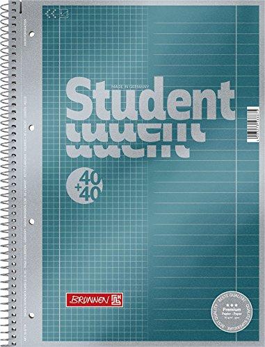 Brunnen 1067174 Notizblock / Collegeblock Student Premium Duo (Veredeltes Deckblatt mit Metallic-Effekt, A4, Lineatur 27 + 28, 90 g/m², 40 Blatt liniert, 40 Blatt kariert)