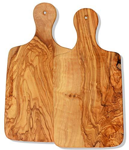 Figura Santa Tavolette in Legno d'ulivo Coppia. Set da 2 tavolette. Dimensioni: 31 x 15 cm. Tavoletta per la Colazione, Vassoio e Tagliere.