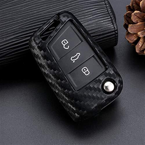 KCSAC Cubierta de la caja de la llave de la fibra de carbono de silicona FORTS for VW POLO GOLF 7 TIGUAN FITS for SKODA OCTAVIA KODIAQ KAROQ FITS for SEAT ATECA LEON IBIZA 2015