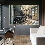Kunstdruck Malerei Poster/altes Klavier auf Leinwand alte