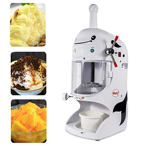 WUPYI Commercial Ice Crusher,Tabletop Electric Ice Crusher Shaver Machine Snow Cone Maker Shaved Ice,Thickness Adjustable,110V 350W 90kg/h,for Bar Coffee Hotel