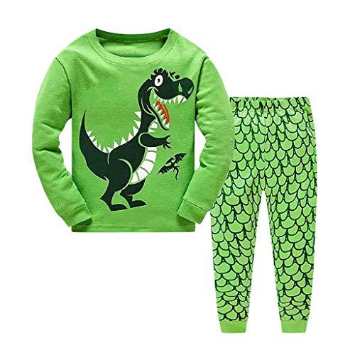 Baby Jongens Meisjes Pyjama Sets 2 STKS Kleding Kinderen Peuter Kids Dinosaur Print Top Shirt Kleding+Lange Broek Set Slaapmode Pyjama Outfit Set Zomer Lente Nachtkleding 1-6 Jaar