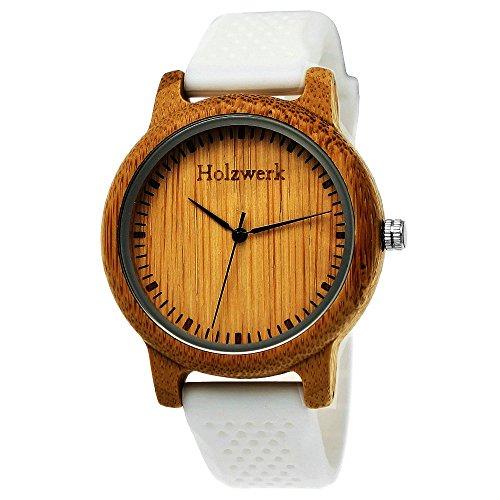 Handgefertigte Holzwerk Germany® Designer Unisex Uhr Herren-Uhr Damen-Uhr Öko Natur Vegan Holz-Uhr Armband-Uhr Analog Klassisch Quarz-Uhr mit Silikon Kautschuk Armband und Holz Gehäuse in Weiß