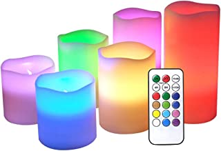DRomance Flameless Color Changing Candles with Remote and Timer, Real Wax LED Flickering Multi Color Candles for Romantic Decoration(Set of 6, 3