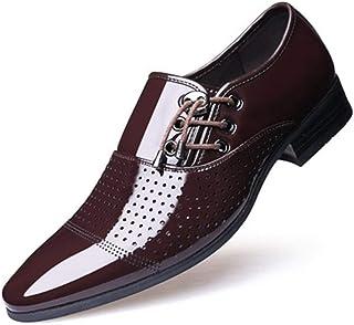DADIJIER Oxfords for Hombres Zapatos de Vestir Laterales con Cordones Patente Boda empresarial Top bajo Antideslizante Pun...