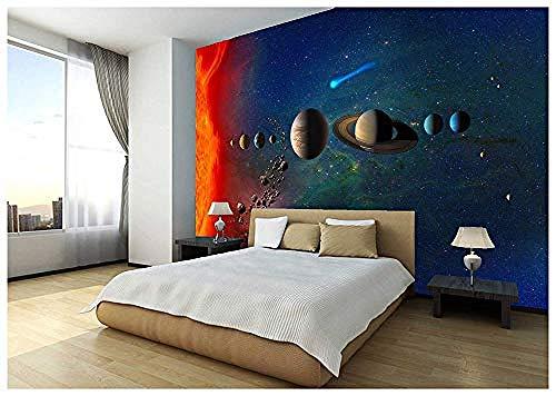 Space Stars Planets Solar System Wallpaper Mural Photo Children Kids Bedroom 3D Wallpaper Custom 3D Wallpaper Paste Living Room The Wall for Bedroom Mural border-400cm×280cm
