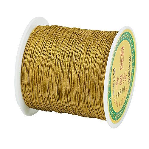 Cheriswelry - Cuerda de nailon trenzado para hacer pulseras de macramé Varilla dorada.