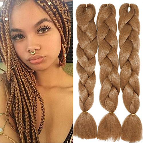 "24"" Extensions Pour Tresse Jumbo Braid Kanekalon Extension Cheveux au Crochet Tressage synthétique Africaine Lot de 3 (Auburn Clair)"