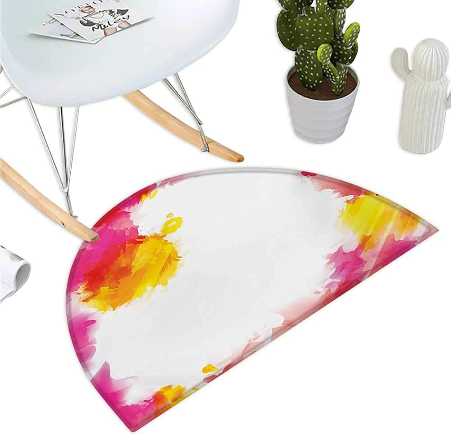 Abstract Semicircle Doormat Framework with Watercolor Vibrant Paint Splashes Artistic Creativity Themed Print Entry Door Mat H 43.3  xD 64.9  Multicolor