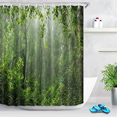 ZLWSSA Cortina De Ducha Impermeable 3D Tree Green Misty Rain EST En Puerto Rico Poliéster Baño 180x180cm