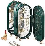 Estante organizador de joyas de ABS, almacenamiento falso, 153 orificios, pendientes y 21 collares con espejo empotrados, caja organizadora de pie en el tocador