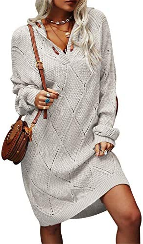 Aiopr Womens Long Sleeve Pullover Sweater Dress V Neck Cable Knitted Casual Loose Hooded Knit product image