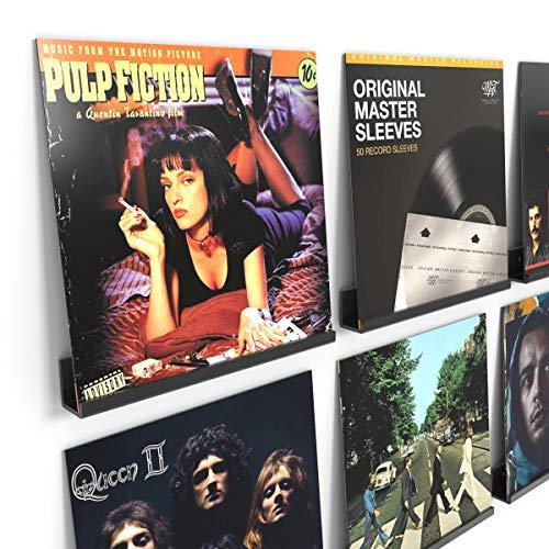 HIIMIEI Soporte de pared para 6 discos de vinilo y fotos, 31,6 x 13,2 x 5,6 cm, estantes flotantes de acrílico con 13 tornillos de pared, color negro