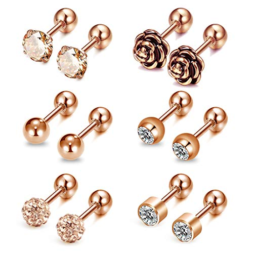AVYRING 16G CZ & Kugel & Rose Tragus Piercing Ohr Chirurgenstahl Stud Ohrpiercing Helix Piercing Für Damen Herren 6 Paare - Rose gold