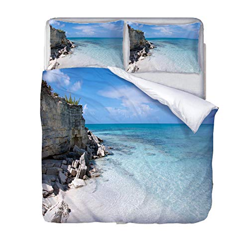 Duvet Cover Set King-Sea and reefZipper Closure with 2 Pillow covers Bedding Set Ultra Soft Hypoallergenic Microfiber Quilt Cover Sets