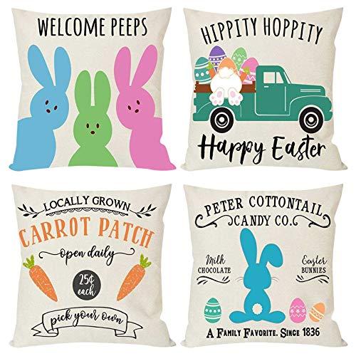 Moent 4 fundas de almohada de Pascua, cuadradas, de lino, diseño de gnomo, conejito enano, camión, 4 piezas, suave funda de cojín para sofá, decoración de festivales