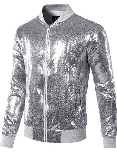 JOGAL Mens Sequins Nightclub Styles Zip up Varsity Baseball Bomber Jacket Medium A346 Silver
