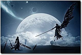 Lawrence Painting Cloud Vs Sephiroth Final Fantasy Xv Game Art Canvas Poster Print Pictures For Bedroom Living Room Decor4