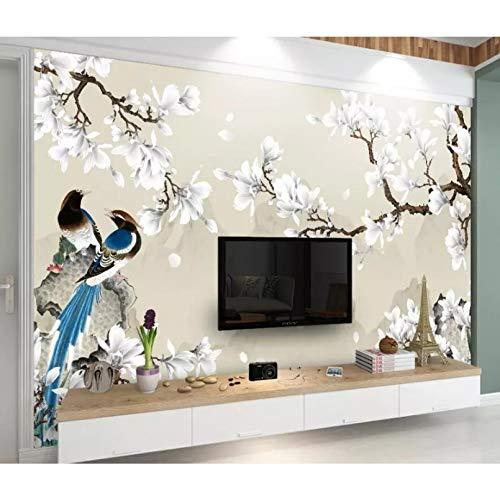 Papel pintado 3D personalizado nuevo estilo chino magnolia blanca pájaro pintado a mano con pincelada flor y pájaro fondo pared 250 x 175 cm
