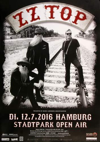 ZZ Top - Live On Stage, Hamburg 2016 » Konzertplakat/Premium Poster | Live Konzert Veranstaltung | DIN A1 «