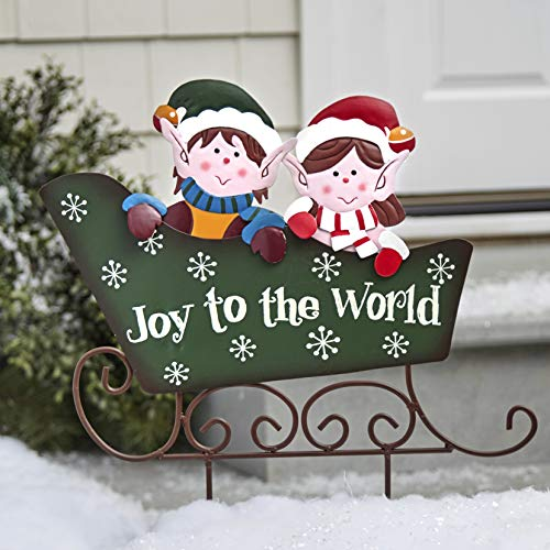 Metal Sleigh Stake for Christmas with Retro Elves - Joy to The World - Green