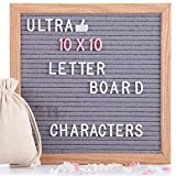 Letter Board-10'' x 10'' Gray Changeable Message Letter Board with 460 Pink & White Pre-Cut Letters, Numbers...