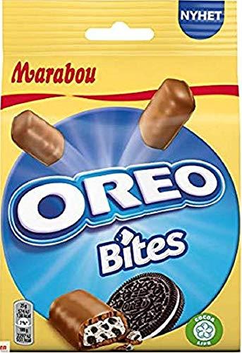 Marabou Oreo Bites 8 x 140 g – kleiner Snack mit Oreo Füllung, umhüllt von cremig–zarter Schokolade – leckere Süßigkeiten, perfekt für unterwegs
