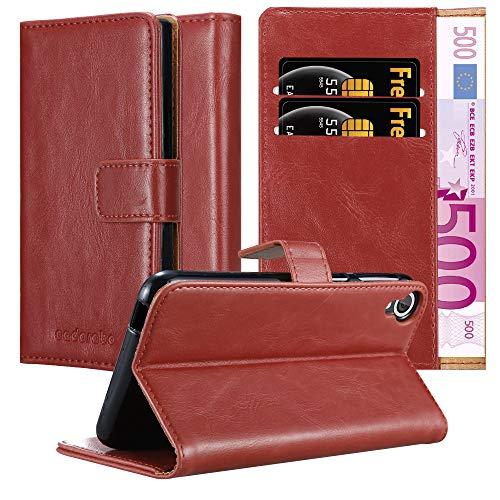Cadorabo Hülle für HTC Desire 820 - Hülle in Wein ROT – Handyhülle im Luxury Design mit Kartenfach & Standfunktion - Hülle Cover Schutzhülle Etui Tasche Book