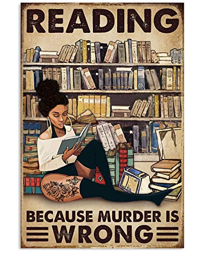Tattooed Black Girl Love Books Reading Because Murder is Wrong Wall Art Hanging Painting Paper Photography Watercolor Living Classroom Home Decor No Frame Tattoos Poster (16'x24')