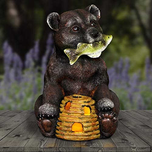 Exhart Solar Black Bear Statue Holding a Fish & Solar Beehive - Bear Decor for Home: Hand-Painted Solar-Powered Fish & Bear Statue- Beehive Decor Lights, 4.9