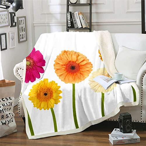 Loussiesd Manta de forro polar con estampado floral para silla, sofá, ramas botánicas, manta sherpa, decoración temática de la naturaleza, manta de felpa para bebé, 76 x 101 cm