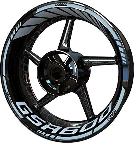 Motocicleta Moto Llanta Inner Rim Tape Decal Pegatinas F2 para Suzuki GSR 600 (Plata)