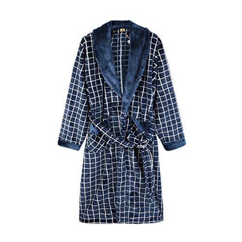 Herren Schlafanzug Nachtwäsche-Sets Pyjama Herbst und Winter korallenrote Samt Lange Robe Lässiger Karierter Bademantel Flanellheimservice (Color : Blue, Size : L)