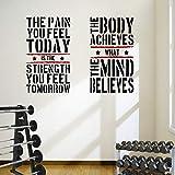 DesignDivil 2 adhesivos de pared grandes para gimnasio en casa, gimnasio y fitness, con citas saludables, excelente valor.