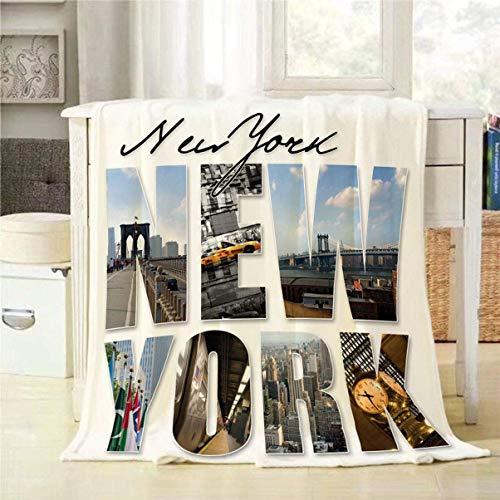 Hirkeld New York City Throw Blanket Collage mit verschiedenen berühmten Orten und Bereichen des Big Apple dekorative weiche warme gemütliche Flanell Plüsch Throws Decken für Bettwäsche Sofa Couch